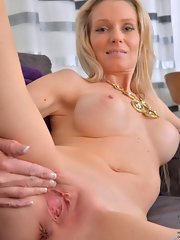 her Mom shaved pussy spreads